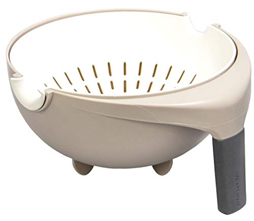 Kitchen ColanderStrainer pot - Large Plastic Washing Bowl - Detachable Kitchen Colander - Double Layered Basket for Food as Pasta Spaghetti Fruits Vegetables - Strainers and Colanders 2 in 1