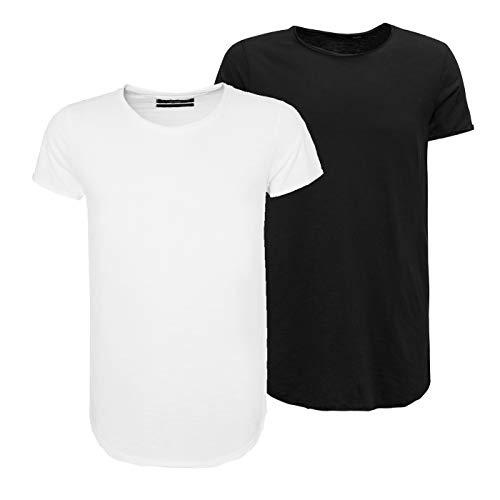 Sky Rebel Herren Basic Long Fit T-Shirt 2er Pack 3er Pack 2er Pack Schwarz Weiß kurz M