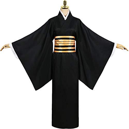 YYFS Traje de Anime Cosplay, Juego Cmico Cosplay, Partido de Disfraces de Halloween, Chaqueta Kimono Negro y Faja,Black-Large