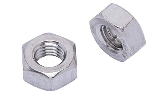 M10-1.5 Metric Stainless Hex Nut, (50 Pack), 304 (18-8) Stainless Steel Nuts, DIN 934, by Bolt Dropper