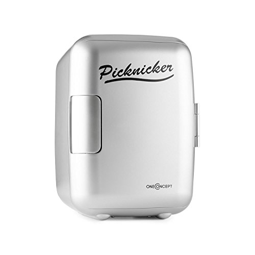 Oneconcept Picknicker Mini Termo Frio Calor (Mini Nevera térmica, Volumen de 4 litros, Certificado eMark, Liviana y asa Plegable, AC, DC, Auto) - Plata