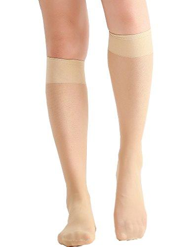 Eabern Damen 6 Satz Silky Sheer Knee hoch Hosen Socken Verstärkte Toe Queen-size Hell beige