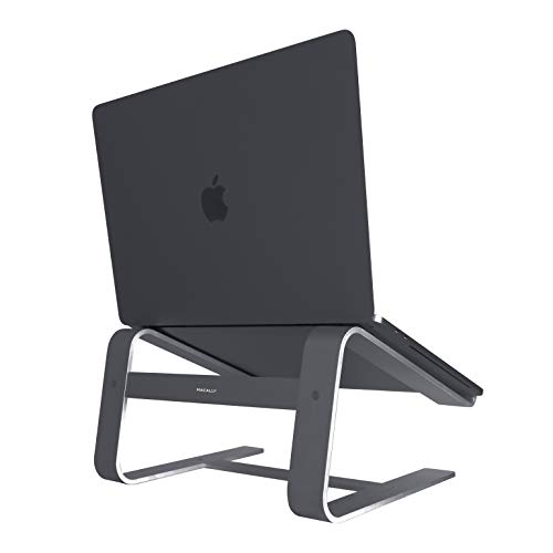 Macally Aluminum Laptop Stand for Home & Office Desks - Fits All Notebooks from 10' to 17.3' - Apple Macbook 12' 13' Pro Air, Chromebook, Samsung, Acer, HP, Dell Computers (Space Gray)