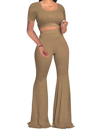 FOBEXISS Chándal ajustado para mujer, de dos piezas, informal, de manga corta, cintura alta, acampanada, pantalones de pierna ancha
