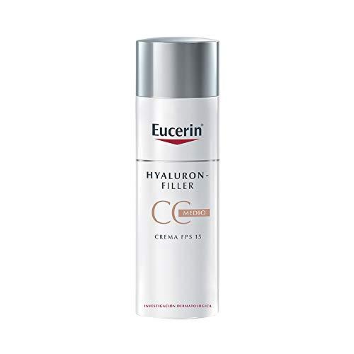 Eucerin CC Cream facial anti edad tono medio FPS 15 Hyaluron Filler, 50ml