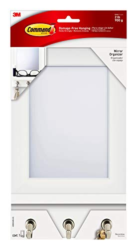 Command Mirror Organizer with Hooks and Ledge for Keys, Glasses, Sunglasses and Dog Leash