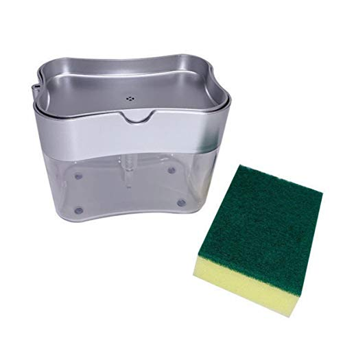 Rendeyuan Kitchen Essentials Dishwashing Brush Pot Artifact Press The Liquid Box Sponge Block With Strong Water Absorption - Silver