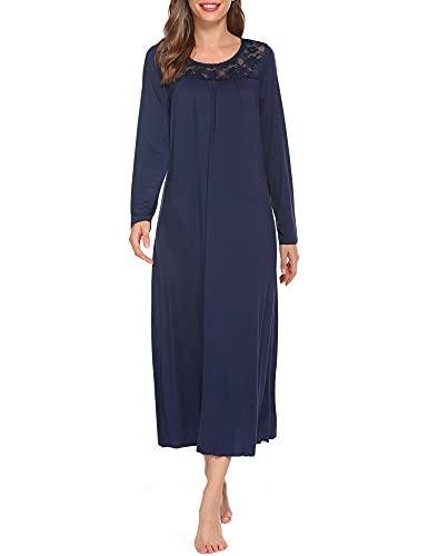 Ekouaer Sexy Sleepwear Womens Full Length Nightgown Long Sleeve Nightdress Lace Trim Lounge Dress