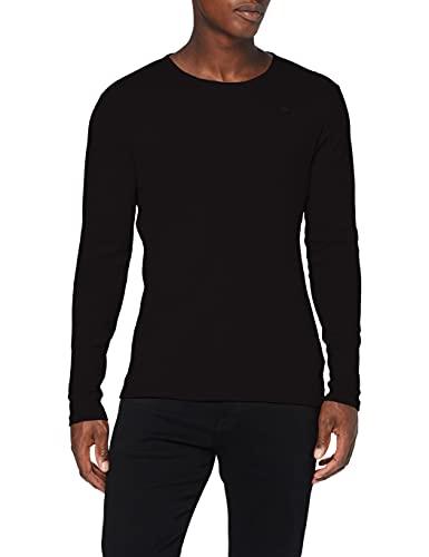 G-STAR RAW Base Round Neck Long Sleeve 1-Pack T-Shirt, Schwarz (Black 124-990), Medium para Hombre
