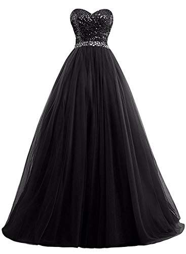 Momabridal Women Sequins Tulle Long Evening Dress Beaded A Line Bridesmaid Gowns (Black,US4