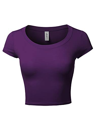 Basic Scoop Neck Cap Sleeve Fitted Crop Rayon Top Tee Shirt Purple S