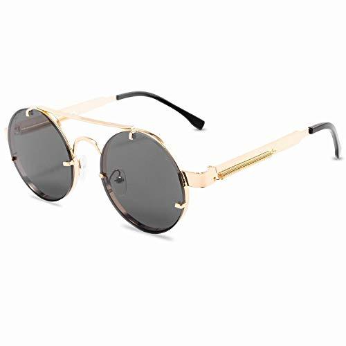 hqpaper Gafas de sol retro punk europeas y americanas gafas de sol de moda para mujer-Gris dorado