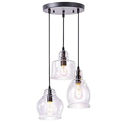 Wellmet Glass Pendant Lighting,Cluster Pendant Lights for Kitchen Island,3 Lights Dining Room Lighting Fixture Hanging Chandelier