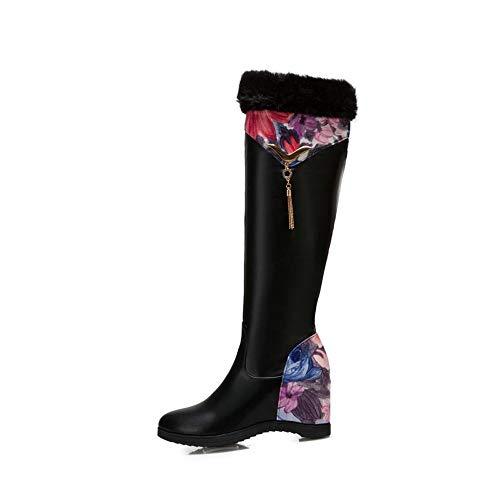 BOXIAO Women's Boots Wedge Heel Boots, Side Zipper Fleece Lining TPR Non-Slip Wear-Resistant High-Tube Women's Boots Knight Boots Women (Color : A, Size : 39)