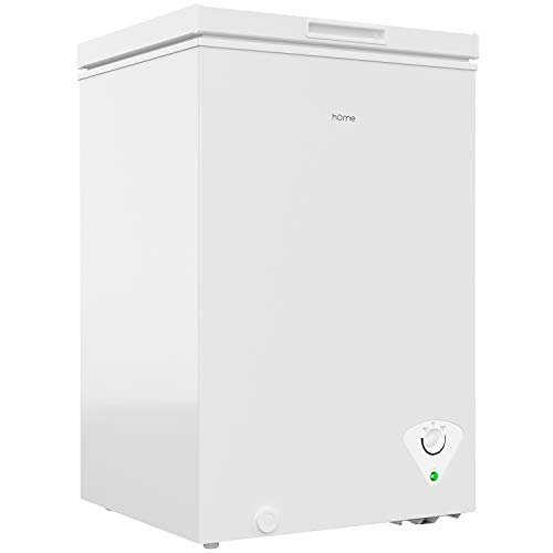 hOmeLabs 3.5 Cubic Feet Chest Freezer - Top Door Deep Freezer with Manual Defrost and Easy Access Defrost Drain - Home and Office Food Storage with Removable Shelf Basket and Adjustable Thermostat