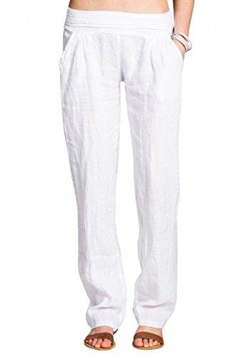 Caspar KHS020 Pantalones Largos de Verano para Mujer Hecho de Lino, Color:Blanco, Talla:S - DE36 UK8 IT40 ES38 US6