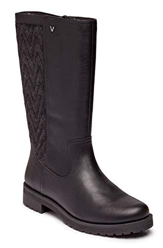 Vionic Women's Mystic Aurora Mid Calf Boot - Ladies Waterproof Leather Upper with Faux Shearling Lining and Concealed Orthotic Arch Support Black 7.5 M US
