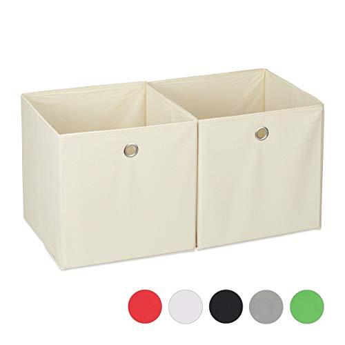 Relaxdays Aufbewahrungsbox Stoff 2er Set, quadratisch, Aufbewahrung für Regal, Stoffbox in Würfelform 30x30x30 cm, beige