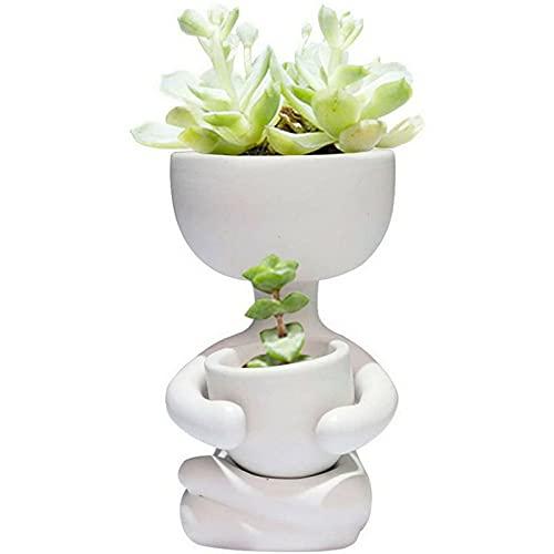 HoitoDeals Centro Ceramica Mini Portrait Piante Grasse Vaso Fioriera Per Home Desk Decor Articolo (1 Pezzo) Bianco