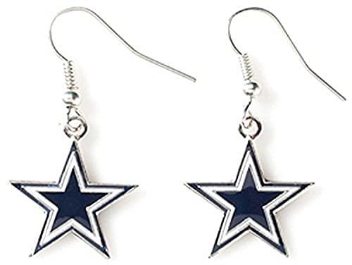 Aminco NFL Dallas Cowboys Logo Dangler Earrings, Silver, Size 2.5