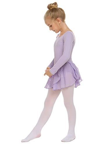 Trudge Mädchen Ballettkleidung Ballettkleid Kinder Langarm Baumwolle Balletttrikot Ballettanzug Tanzkleid Tanzbody mit Rock Tütü, A Lila, 140 / 6-7 Jahre