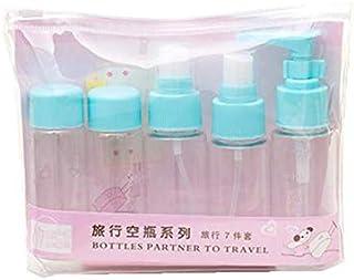 7Pcs/Set Travel Kit Empty Lotion Cosmetic Makeup Case Container Spray Bottle Pot Portable Refillable Empty Makeup Bottle(B...