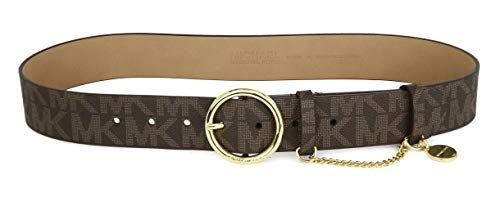 Michael Kors Womens MK Monogram Gold Buckle And Chain Belt - Brown (Small)
