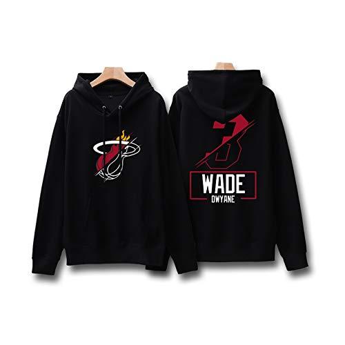 SIMAYI # 3 Miami Heat Dwyane Tyrone Wade Basketball Trikot Hoodie, Casual Sportswear Sweater Hoodie, Dünn Kapuzenpullover für Herren, Geeignet für Training, Bewegung, Outdoor,Schwarz,S