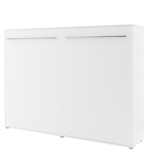 Schrankbett Concept PRO Horizontal, Wandklappbett, Bettschrank, Wandbett, Schrank mit integriertem Klappbett, Funktionsbett (140 x 200 cm, Weiß, Horizontal)
