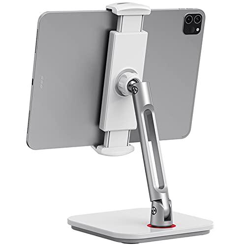 Soporte Tablet, Soporte Teléfono Móvil Ajustable, Puerta de Aluminio de Brazo Largo para iPad, iPhone,Samsung, Kindle 4,7-13', Giratorio de 360°, para Cocina/Oficina/Mesa