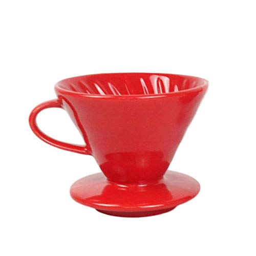 Kajava Mama Pour Over Coffee Dripper - Ceramic Slow Brewing Accessories for Home, Cafe, Restaurants - Easy Manual Brew Maker Gift - Strong Flavor Brewer - V02 Paper Cone Filters - Size: 2 Cup, Red