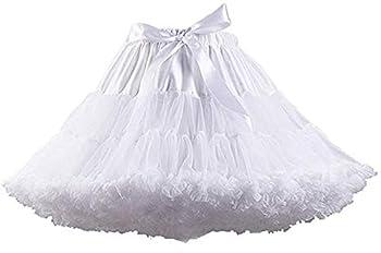 Women s Elastic Waist Chiffon Petticoat Puffy Tutu Tulle Skirt Princess Ballet Dance Pettiskirts Underskirt  White