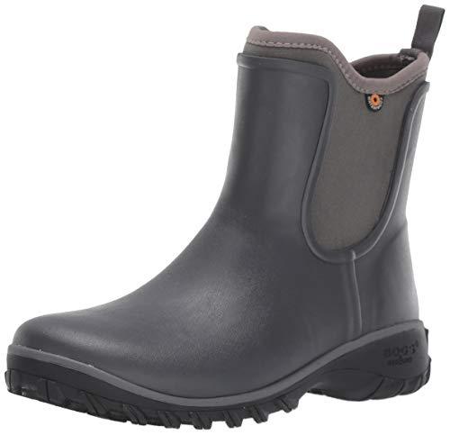 BOGS Women's Sauvie Slip On Boot Waterproof Garden Rain, Dark Gray, 10 M US