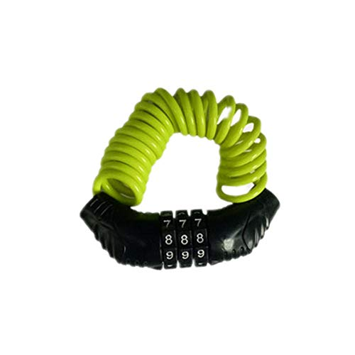 Candado de bicicleta antirrobo para bicicleta con contraseña y accesorios para bicicleta, llavero, cable de acero engrosado, combinación resistente, color verde