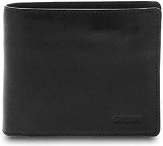 GIUDI ® - Portafoglio uomo in pelle vacchetta, vera pelle, portafoglio con portamonete, Made in Italy (Nero)