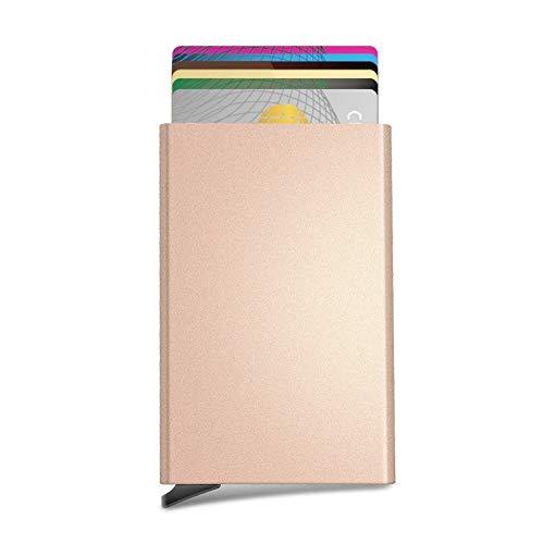 Tarjeteros para Tarjetas de Crédito Cartera de Aluminio Ultradelgado Bloqueo RFID Automático Pop Up, Capacidad 4-6 Hojas,Dorado