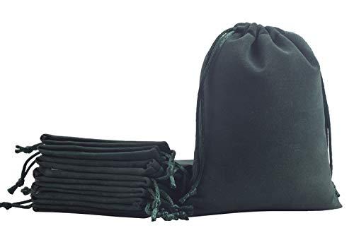 KONMAY 10 Stück Dunkelgrün weicher Samtbeutel Schmuckbeutel mit Kordelzug, 20x25cm Samt Säckchen Hochzeit Party Geschenksäckchen