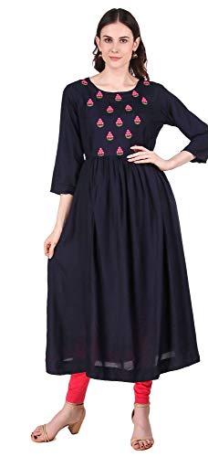 METRO-FASHION Women's Partywear Indian Tunic Top A-Line Rayon Kurta Dress (XXL, Dark Blue)