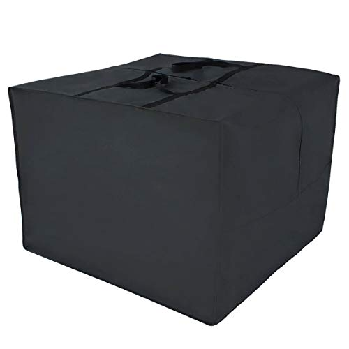 RICHIE Patio Furniture Seat Cushions Storage Bag with Zipper and Handles Waterproof, Black 80x80x60cm
