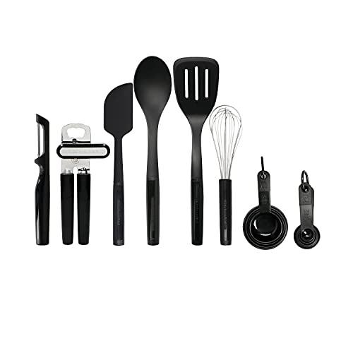 KitchenAid 15 Piece Kitchen Utensil Set, Heat Resistant and Dishwasher Safe Cooking Tools – Black