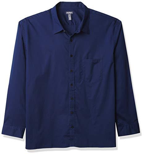 Van Heusen Men's Big & Tall Big Never Tuck Long Sleeve Button Down Shirt, Royal Navy Solid, 2X-Large Tall
