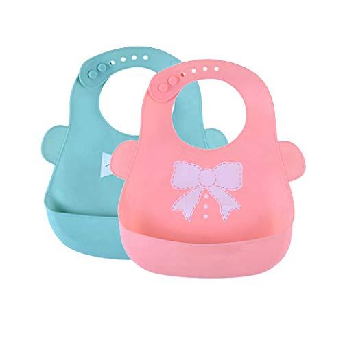 DXIA 2 pack Baberos de Silicona para Bebés, cuello ajustable, impermeable, bolsillo grande, suave, cómodo de limpiar, plegable, coloridos, para bebés y niños de 6 meses a 4 años (Azul/Rosa)