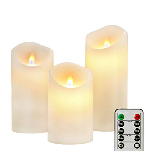 Flameless Flicker Moving Candles 3 Inch Diameter 5 6 7 Inch Tall, Silverstro Unique Blue Flame Cone Battery Operated Pillar Paraffin Wax, Moving Wick Electric LED Candle with Remote Control