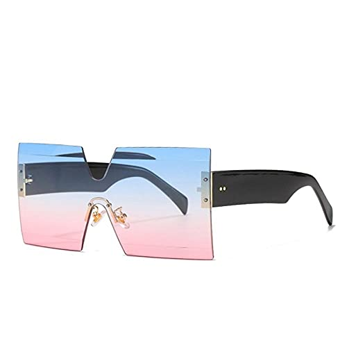 YHKF Gafas De Sol Sin Montura para Mujer Gafas De Sol Cuadradas para Hombre Gafas De Sol Vintage De Gran Tamaño para Mujer Uv400-Blue_Pink