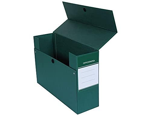 4 Cajas de transferencia o archivadoras Fº color verde Forrada en paper coat de 2 mm de espesor.