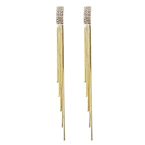 WEFH Pendientes de Borla Multicapa de Diamantes para Mujer, Pendientes Colgantes chapados en Oro, Pendientes de botón, joyería de Lujo con Forma de Gota para el oído