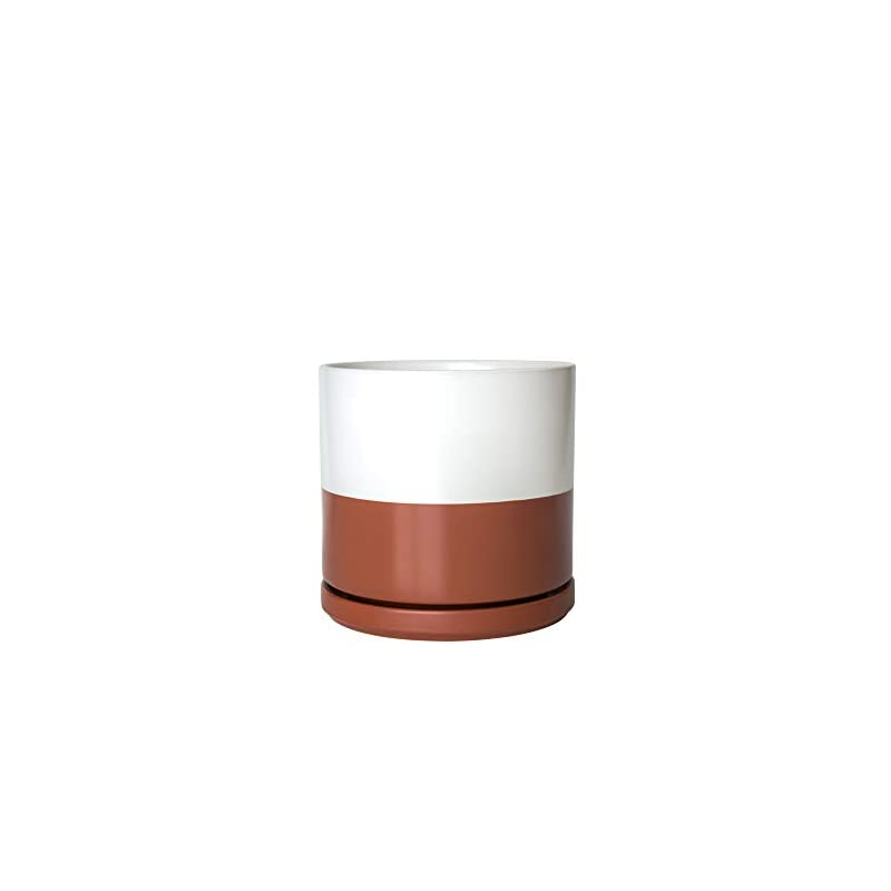 silk flower arrangements ceramic planter pot with drainage hole and saucer, indoor cylinder round planter pot, 10 inch, white/ pottery red terracotta, 94-o-l-5
