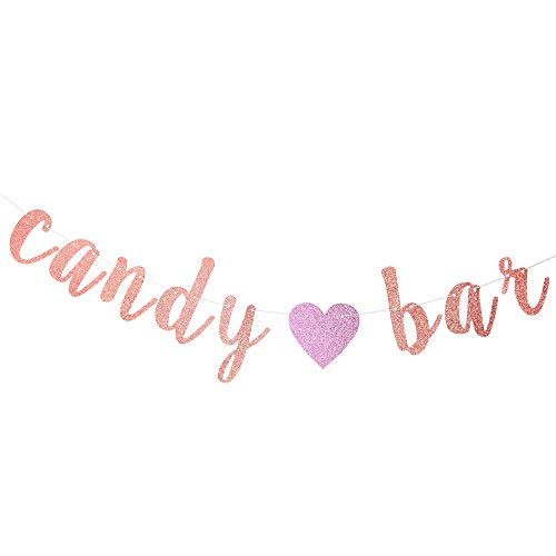 Rose Gold Glitter Candy Bar Banner, Birthday Wedding Banner, Party Events Decorations, Party Supply Decor, Wedding Engagement Sign Photo Prop.