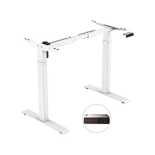 SANODESK EZ1- elektrisch stufenlos höhenverstellbarer Schreibtisch mit Kollisionschutz, Memory-Steuerung und Softstart/Stop Funktion (Weiß)