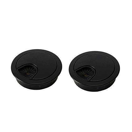 WJUAN 2 Stück 60 mm Edellochabdeckung | Schreibtischabdeckung für Kabellöcher für Schreibtische, Schreibtische und Arbeitsplatten (schwarz)